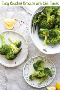 This Oven Roasted Broccoli with Chili Flakes is a quick, easy, and delicious veggie that's cooked with olive oil, and served with chili and lemon juice.  It's vegan, low-carb, and gluten-free-- making it a perfect side dish for both weeknight dinners and entertaining!