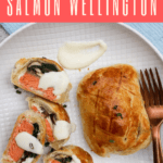 {ad} This Individual Salmon Wellington recipe features portioned puff pastry packets filled with spring greens, mushrooms, goat cheese, and salmon, along with an easy mustard sauce for an easy seafood dinner.