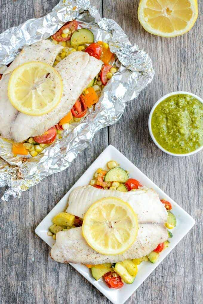 Grilled Foil Packet Tilapia with Pesto Veggies - from The Lean Green Bean