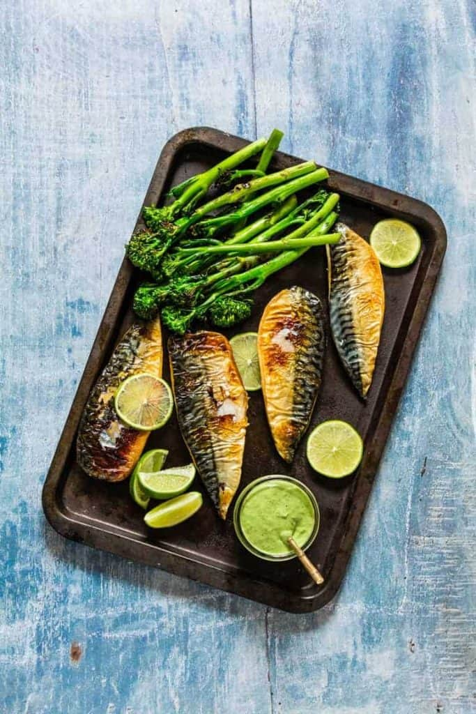 Grilled Mackerel Fillets with Green Goddess Dressing - Recipes from a Pantry