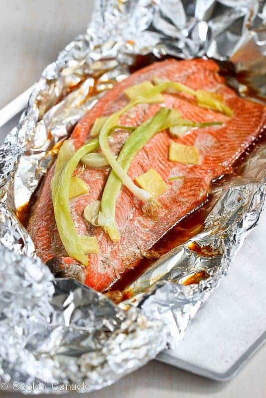 Grilled Salmon with Soy + Ginger Sauce - from Cookin Canuk
