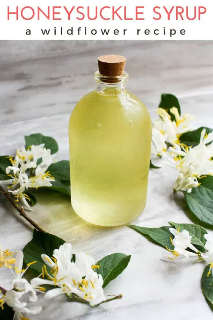 This recipe for Honeysuckle Simple Syrup uses foraged wild honeysuckle in a sweet simple syrup that is perfect for cocktails, iced tea, lemonade, and more! #spring #summer #simplesyrup #honeysucklerecipe