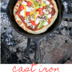 This easy Campfire Pizza with Veggies is cooked in a cast iron pan over a fire, and is an easy and delicious vegetarian pizza that's perfect for camping, cookouts, and bonfires.