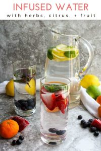 This easy infused water recipe is a healthy and refreshing drink! Add citrus (like lemon, limes, oranges, or grapefruit), herbs (like mint and basil), and / or fruit (like strawberries, watermelon, blueberries, and pineapple) for an easy, no sugar added drink!