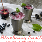 This Blueberry Bourbon Smash is made with a quick and easy blueberry syrup and fresh basil leaves. It's a blueberry cocktail that's perfect for hot summer days!