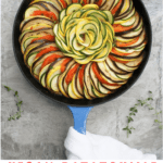 This vegan ratatouille dish is made with eggplant, tomatoes, zucchini, and summer squash. The roasted vegetables make a delicious summer dinner!
