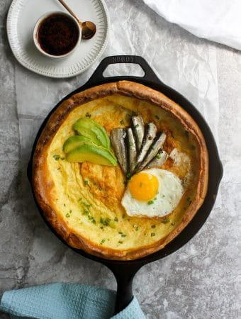 "dutch baby korean seafood pancakes with sardines in a 10"" lodge cast iron"