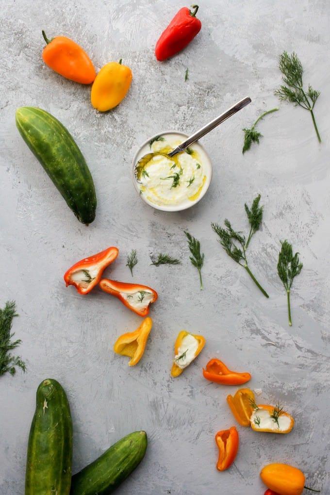 homemade tzatziki as a veggie dip