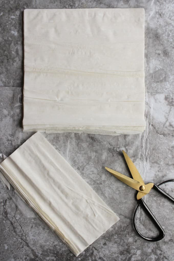 how to cut phyllo dough