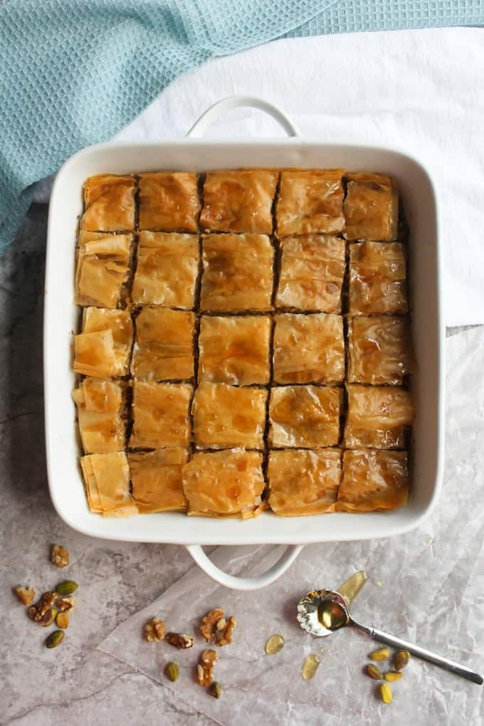 cooked baklava
