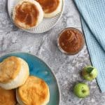 crabapple recipe: apple butter spread onto biscuits