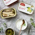 canned mackerel, yogurt, and relish for mackerel salad