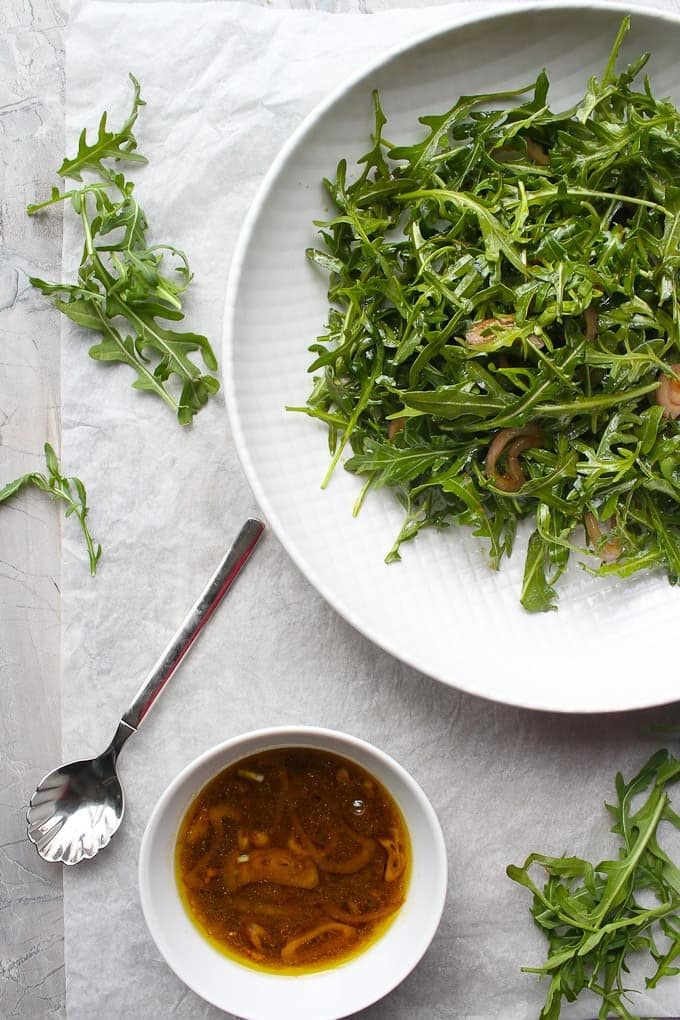 Arugula salad with dressing