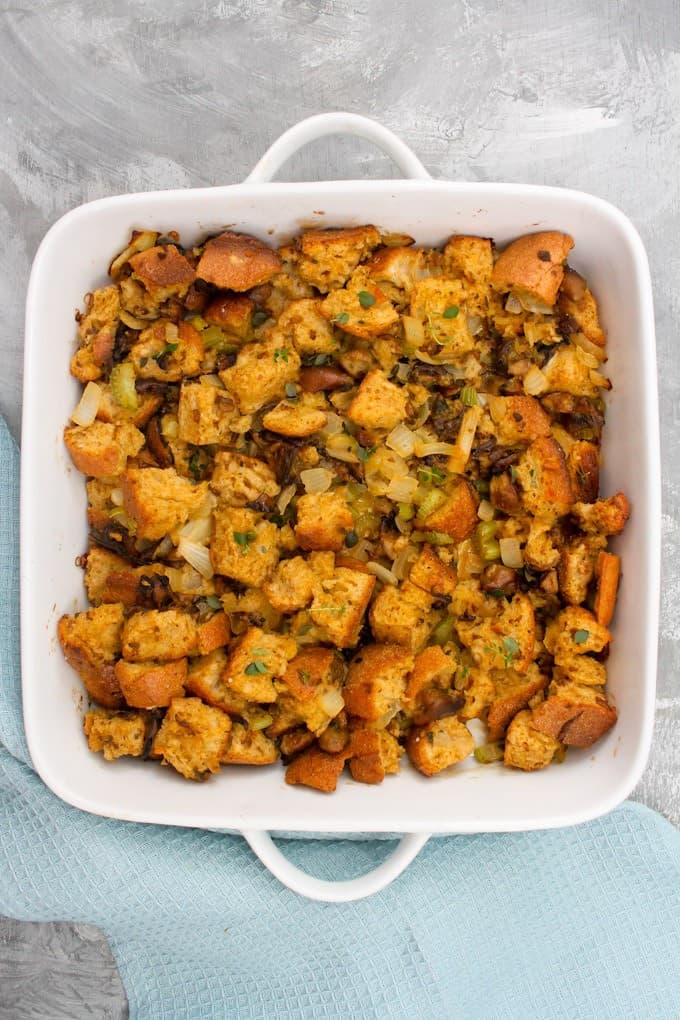 oyster stuffing in a baking pan
