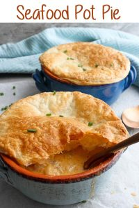 This Seafood Pot Pie is filled with a smoky seafood chowder, and topped with golden, flaky puff pastry.