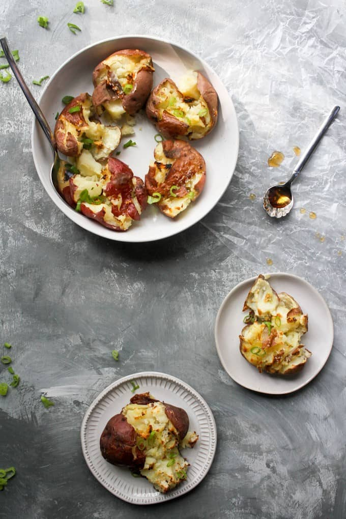 smash potatoes on a serving tray