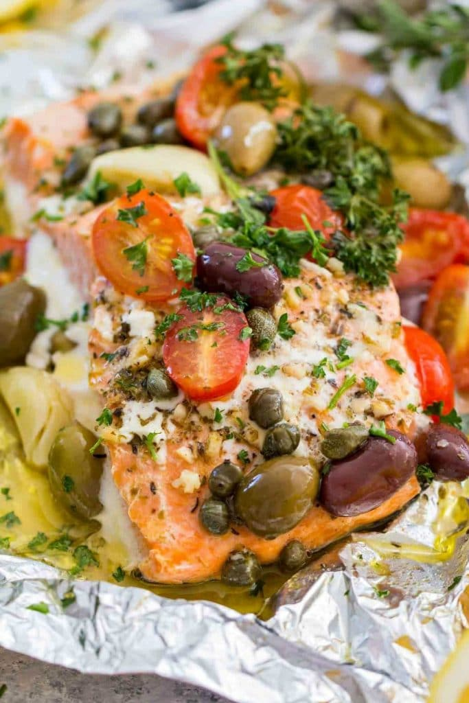 Mediterranean Salmon Foil Packets - from Sweet + Savory Meals
