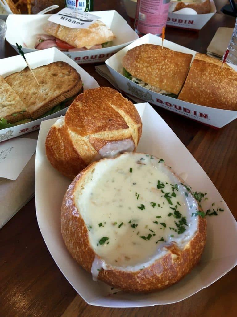 San Francisco Bread Bowl - Clam Chowder at Boudin Bakery