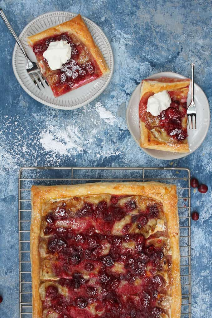 cranberry tart with whipped cream