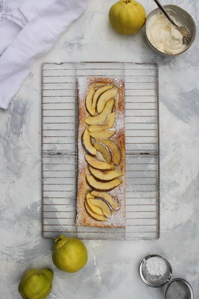 quince puff pastry tart