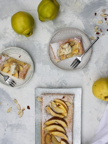 quince recipe- tart cut and served