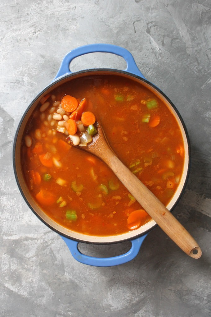 Add the Beans + Broth to the White Bean Soup