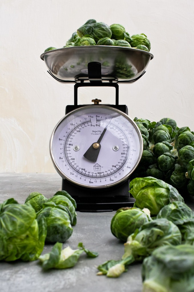weighing brussels sprouts