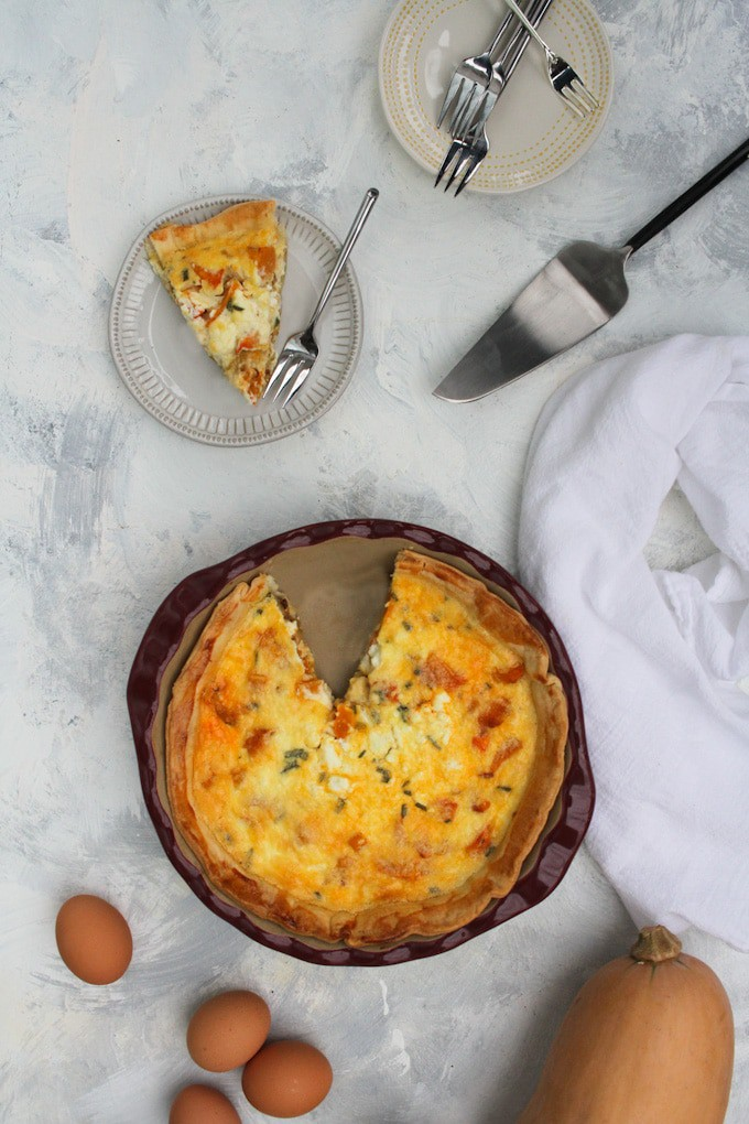 butternut squash quiche in a serving platter