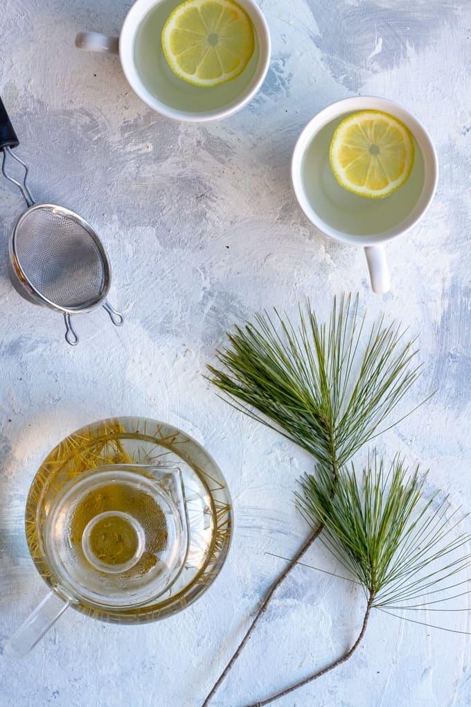 Pine needle tea in a teapot