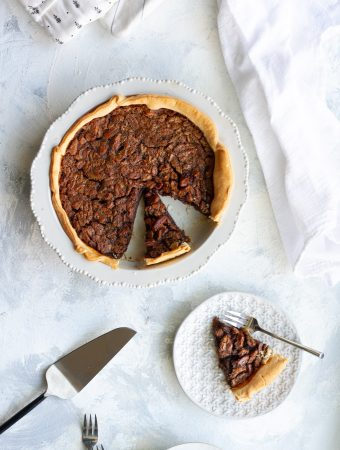 Chocolate Bourbon Pecan Pie on a serving table