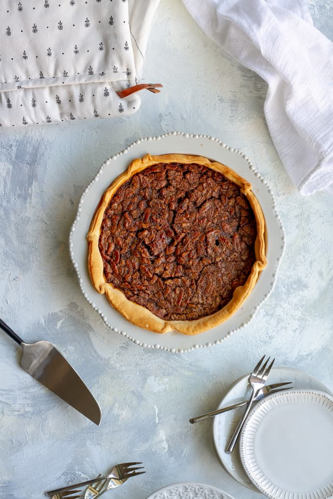 Bourbon Pecan Pie on a serving table