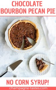 This chocolate bourbon pecan pie is sweetened with honey, molasses, and chocolate chips for a delicious twist on the Southern classic. (No corn syrup!)