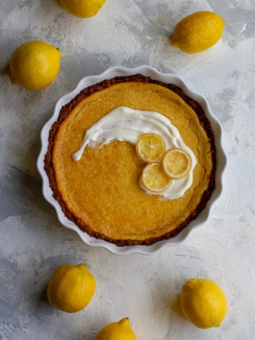 lemon pie in a serving dish