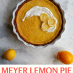 This easy lemon pie is a tart dessert made with whole Meyer lemons! Simply blend the filling ingredients together in a blender, bake, and serve!