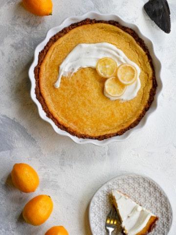 meyer lemon pie ready to serve
