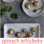 These easy spinach stuffed mushrooms are filled with spinach artichoke dip, and topped with freshly grated Parmesan. They're a perfect vegetarian appetizer or side dish!