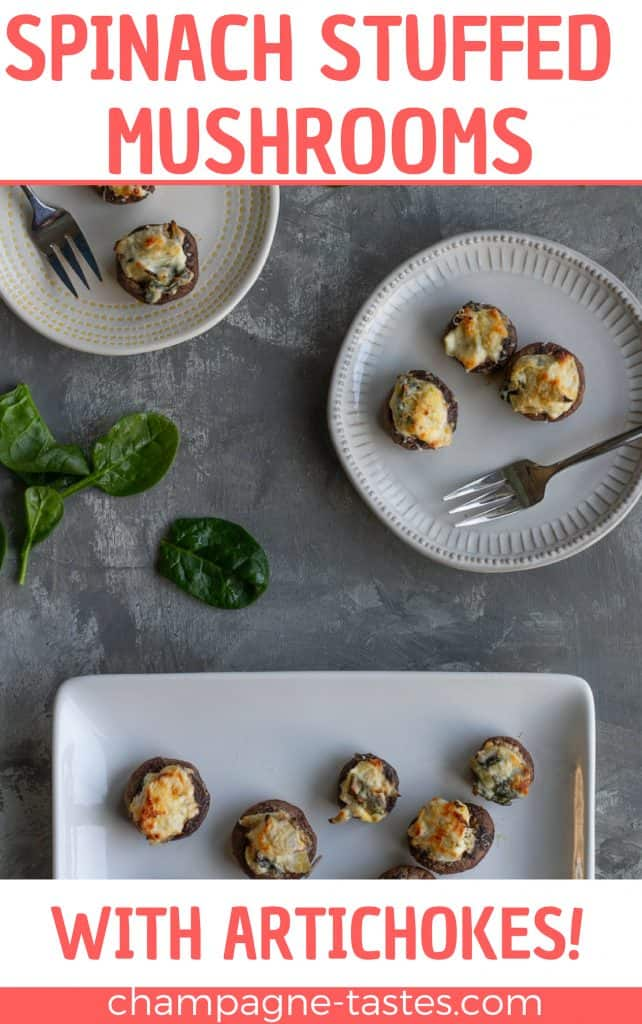 These easy spinach stuffed mushrooms are stuffed with an easy spinach artichoke dip, and topped with freshly grated Parmesan. They're a perfect vegetarian appetizer or side dish!
