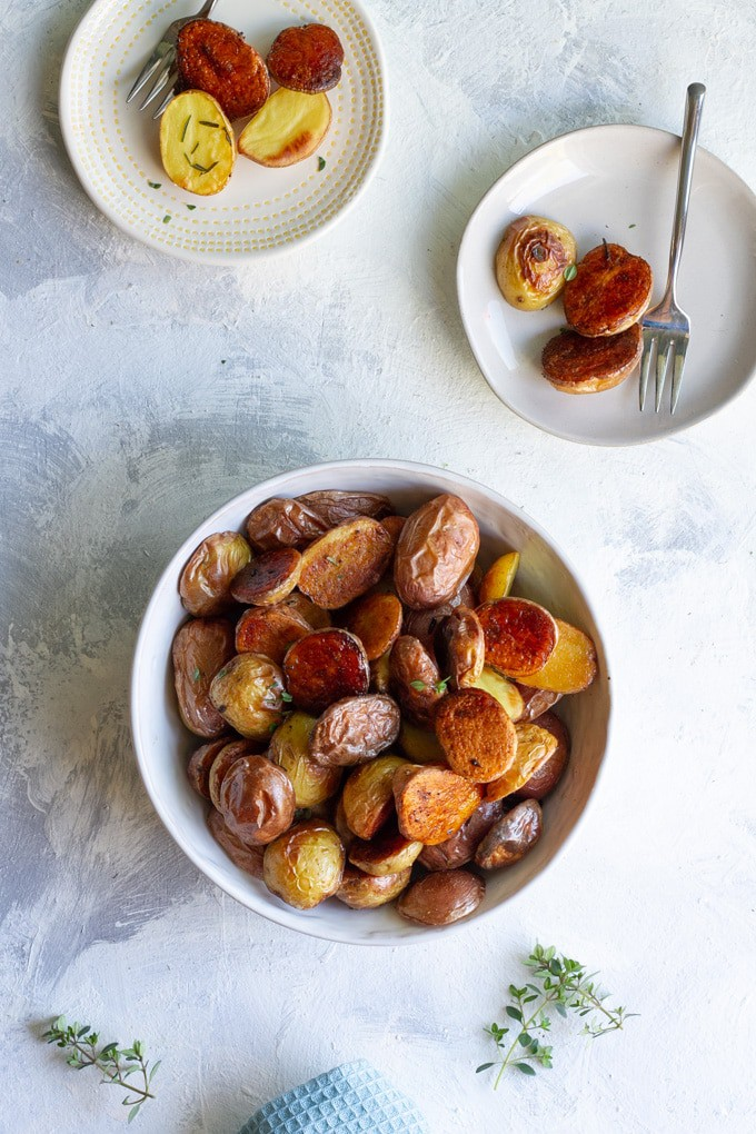 Roasted Baby Potatoes in a serving dish