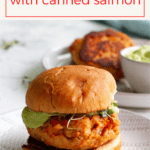 These easy salmon burgers are made with canned salmon, yogurt, breadcrumbs, and a few easy-to-find seasonings. Serve them with a quick and easy avocado sauce!
