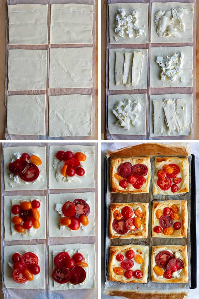 how to make tomato tarts with puff pastry