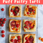 This easy tomato tart recipe is made with garden fresh herbs, summer tomatoes, soft cheese, and golden puff pastry. Make it with mozzarella, goat cheese, or Brie! Ready in 20 minutes!