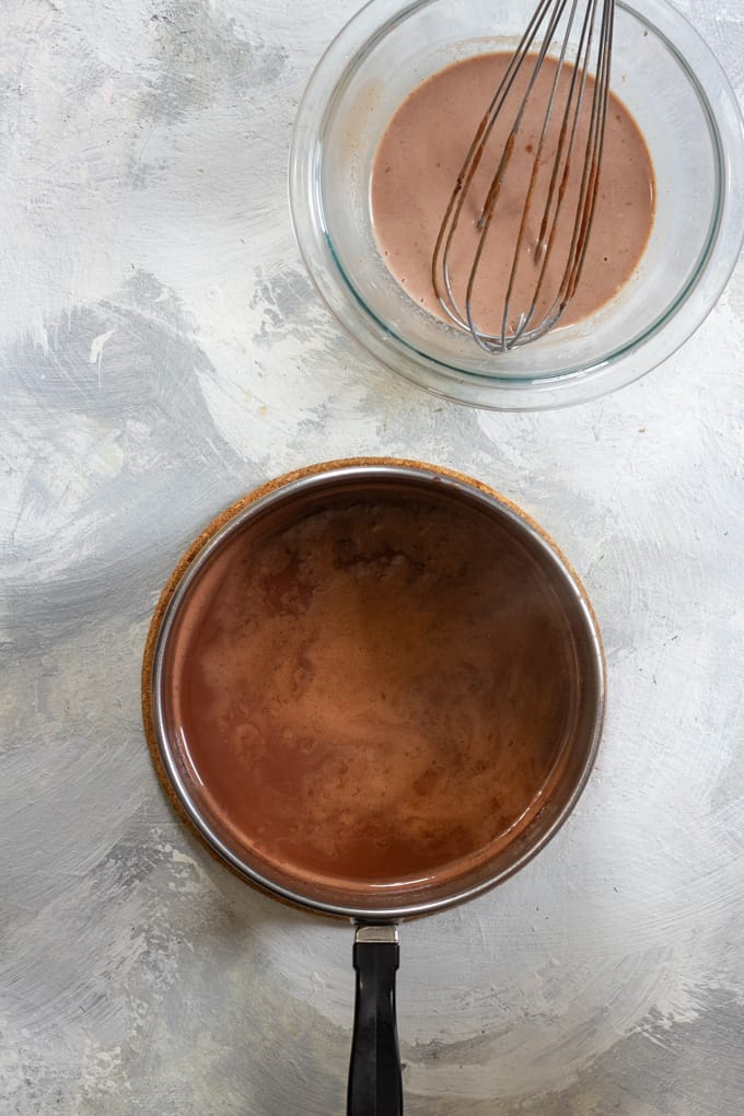 Add Cornstarch + Milk to Chocolate Ice Cream Base