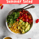 This fresh and easy tomato corn salad is a perfect summer side dish! Simply toss together roasted corn, tomatoes, avocado, herbs, and an easy vinaigrette.