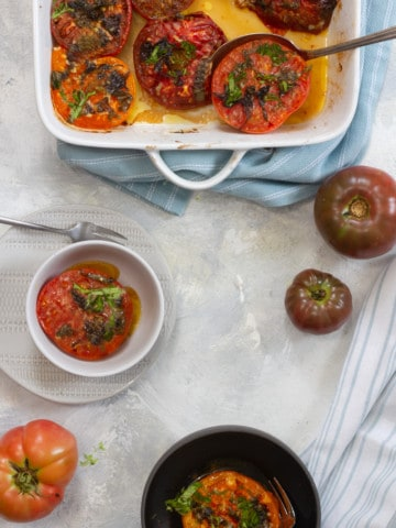 baked tomatoes in a serving dish