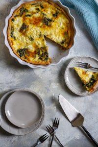 swiss chard quiche on a serving platter