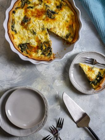 swiss chard quiche on a serving platter