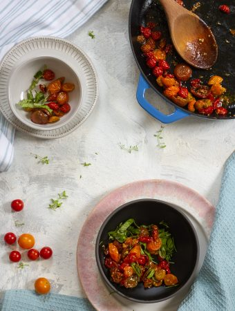 slow-roasted tomatoes in serving dishes