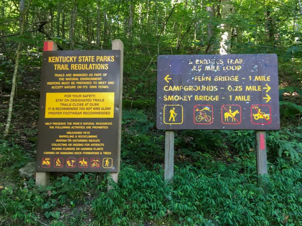 Three bridges trail sign