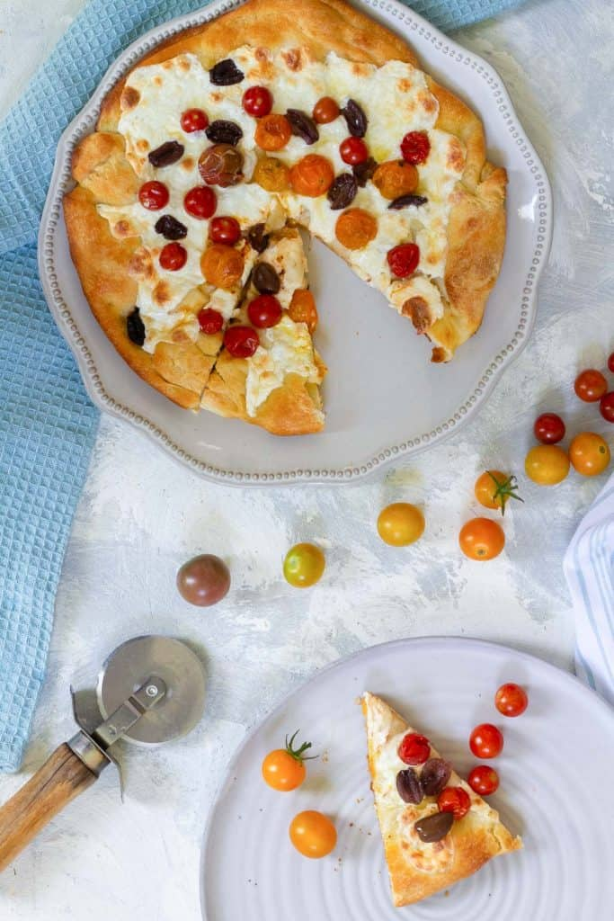 focaccia pizza on a serving plate