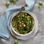honey baslamic brussels sprouts in a serving bowl
